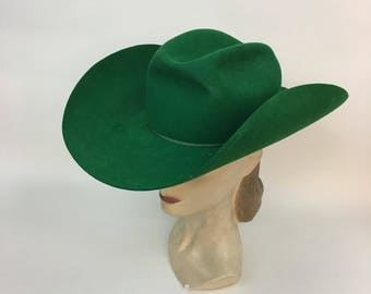 Vintage GREEN Cowboy Hat / 1940s 1950s Rodeo Queen Western Hat