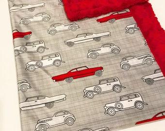 Red Car Designer Baby-Adult  Minky Blanket