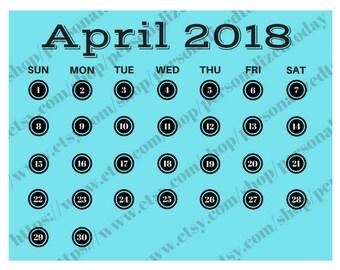 April 2018 Monthly Calendar Digital Printable File JPG PDF Bluegreen Black Typewriter Keys Circles Month At A Glance Landscape Wide Calendar