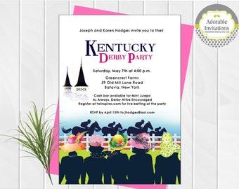Kentucky Derby  Party Invitation, Ladies Hats Invitation, Horse Race Invitation, Navy Blue,  Printable