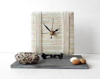 Wool Desk Clock - Beige Clock - Cream Clock - Stripy Clock - Square Desk Clock