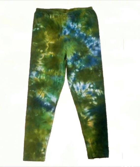 Tie Dye Leggings/Hand Dyed/Womens Tie Dye/Navy, Chartreuse, Yellow & Forest Green/Eco-Friendly Dying