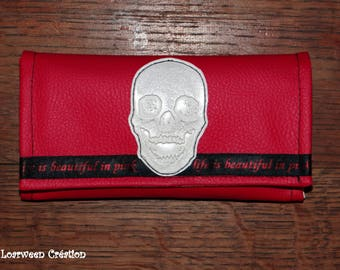 Tobacco pouch in faux leather skull and pink.