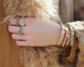 raw crystal ring | white quartz ring | raw quartz stacking ring | rough gemstone ring | april birthstone ring | april birthstone jewelry