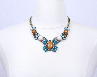 Tribal Necklace Brown Blue White Multicolor Statement Necklace Chunky Bib Necklace
