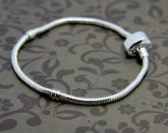 Silver Plated Snake Bracelet, Fit Pandora Beads, Brand New Sterling Silver for Pandora beads, Snake Bracelet, barrel Clasp, Magnetic Claps