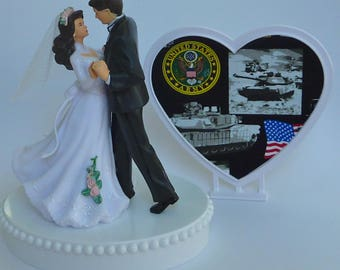 Wedding Cake Topper U.S. Army Themed Military Enlisted Bride Groom Dancing First Dance Heart Backdrop w/ Bridal Garter Pretty Shower Gift