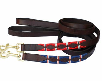 "Drover Polo leather dog lead in 1/2"" and 3/4"" wide and 43"" length"
