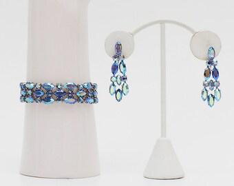 Blue Sherman Rhinestone Bracelet and Earrings - Vintage 1950s Demi Parure