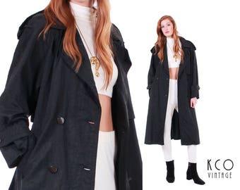 90s Black Trench Coat Long Oversized Coat Black Raincoat Minimalist Clothing Goth 90s Grunge Vintage Coat Retro Clothing Women's Size LARGE