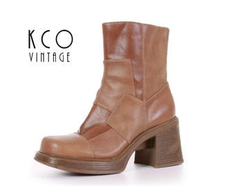 90s Platform Boots Patchwork Boots Ankle Boots Tan Vegan Leather Boots Vintage Chunky Platforms Women's Size US 8 / UK 6 / EUR 38-39