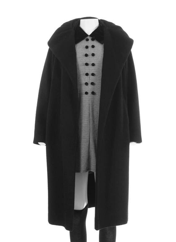 Black Cashmere Coat 50s Vintage Car Coat Oversized Collar