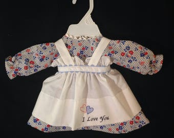 Dress and Apron for 20 inch Raggedy Ann Doll; Red,Blue and Pink Flowers on a Blue and white Check dress,Embroidered Apron,personalization op