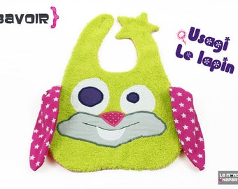 Large rabbit bib green and pink terry fabrics and cotton practical closure