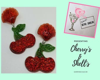 Cherries & Shells Dangle Earrings