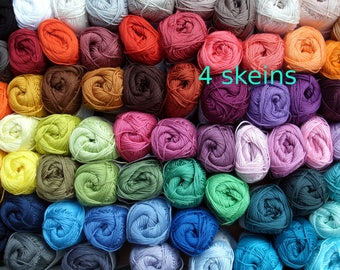 Catania cotton yarn, 4 skeins, 200 gr total, quality  Cotton yarn, each 50 gram, pick your colors, now 85 colors,