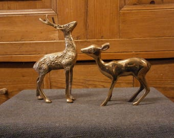 Now SOLD **** Brass Stag and Doe - Vintage