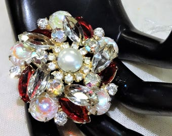 Beautiful Juliana Style Vintage Red, Clear, AB Rhinestone, Faux Pearl and AB Molded Glass Brooch