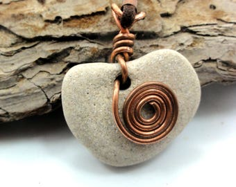 Natural Heart Shaped beach stone Sea rock Pendant Jewelry Copper Spiral ECO Friendly Israel Heart Rock Necklace Love Day gift