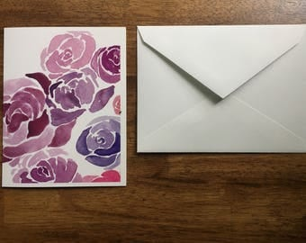 Floral Rose Watercolor Blank Card