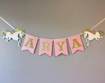 Unicorn Name Banner, unicorn baby shower, unicorn first birthday, unicorn birthday, unicorn party, unicorn decor, Light PINK and GOLD