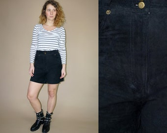 80's vintage women's high waist black leather shorts