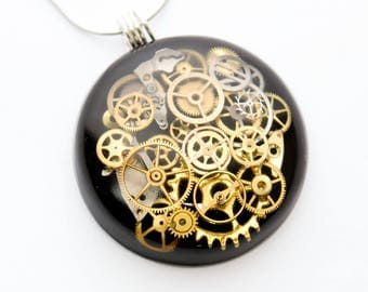 Steampunk Pendant / Necklace Clock and Watch Parts in Resin, Sterling Silver Chain, Black, Cogs, Gears, Hand Made , Unique