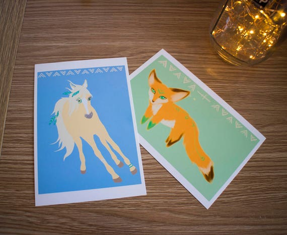Tribal Horse and Fox Prints