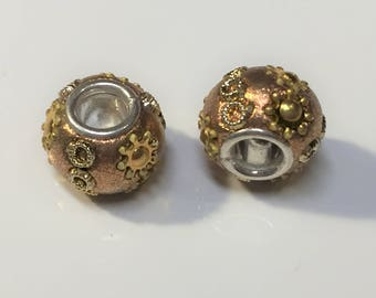 CLEARANCE:  2 Gold and Silver Resin Crystal Rondelles, Dione, 5mm round, large hole slider bead