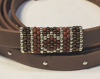 SALE; Versatile Handmade Beaded Tube, 2 Designs on one tube, Brown, Copper, Silver  10mm Flat Leather finding round cords jewelry making