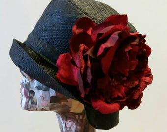 Black Raffia Cloche 20's Style Sun Hat with Red Velvet and Silk Peony