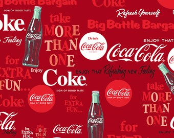 Coca Cola, Coke Cotton Fabric by Sykel! [Choose Your Cut Size]