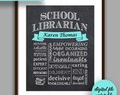 School Librarian Gift, Librarian Chalkboard Style Printable, Librarian Christmas Gift,  School Librarian Thank You, Librarian Printable L1