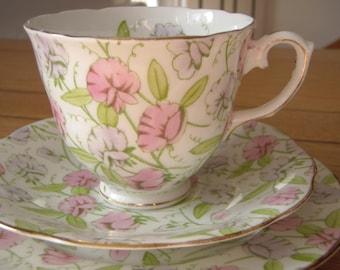 Vintage English Bone China Tea Cup, Saucer and Plate Trio