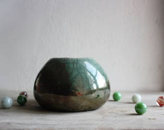 Copper green succulent planter raku pottery