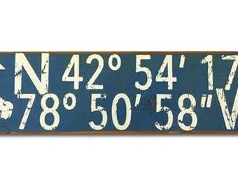 Latitude / Longitude (Buffalo, NY) wooden sign