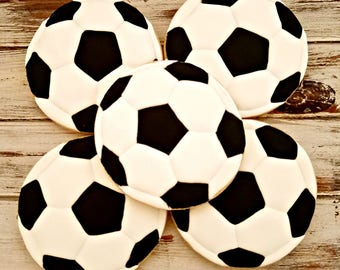 Soccer Ball Decorated Cookies, Sports Cookies, Team Decorated Cookies