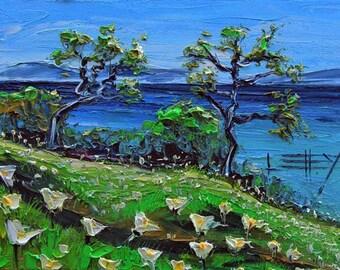 San Francisco Bay, Painting, East Bay, Berkeley, San Francisco Art, California Landscape, Original Oil, Palette Knife, California Art, Art