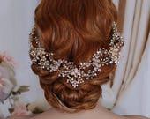 Blush / Champagne Gold Bridal Vine Headpiece Hair Wreath Head Band Piece Accessory Weddings Hairband Brides Gift Wedding Party Accessories