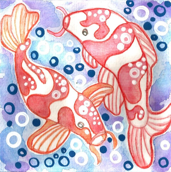 Japanese koi painting koi art gallery koi fish wall art for Koi japanese art