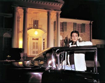 Elvis Presley , # 2 Photos of Elvis out front of Graceland in one of his many Cadillac's 1960's