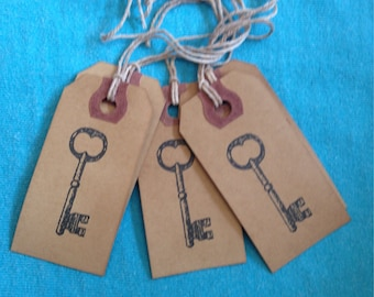 Skeleton Key Stamped Tags Primitive Tags Coffee Stained Gift Tags Strung Manila Wedding Tags