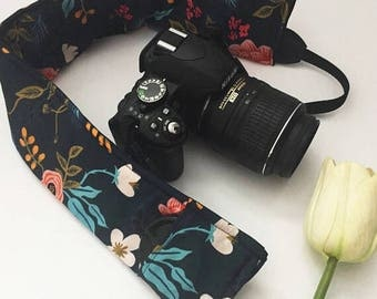 Navy Floral Camera Strap Cover, Floral Padded Camera Strap Cover, Gift for Her, Gift Under 20, Camera Accessory, Photography Gift Idea