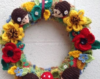 Autumn wreath, Woodland wreath , knitted flowers,hedgehogs, butterflies , door wreath, housewarming,scene, door hanging, nursery, new home