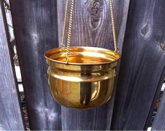 Brass Planter - Wall Hanging Brass Planter Pot - Gold Tone Metal Succulent Pot - Indoor Brass Planter - Outdoor Brass Pot