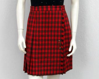 Vintage 80s Red Plaid Pleated Skirt, High Waisted Skirt, Pleated Plaid Skirt, Wool Skirt, School Girl Skirt, Short Skirt, Winter Skirt