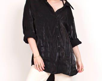 90s wet look oversized button down blouse top , minimalist button down shirt