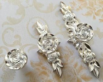 Shabby Chic Dresser Drawer Knobs Pulls Handles Silver White Rose / Flower Kitchen  Cabinet Knobs Handles