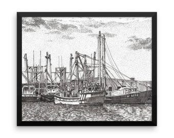 Fishing Boats at Fort Monroe Pen and Ink Framed Poster