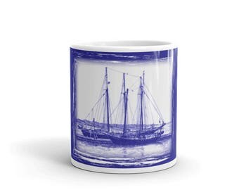 Schooners on Blue Background Mug